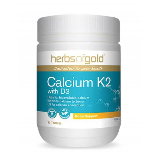 Herbs of Gold Calcium K2 with D3 90 Tablets