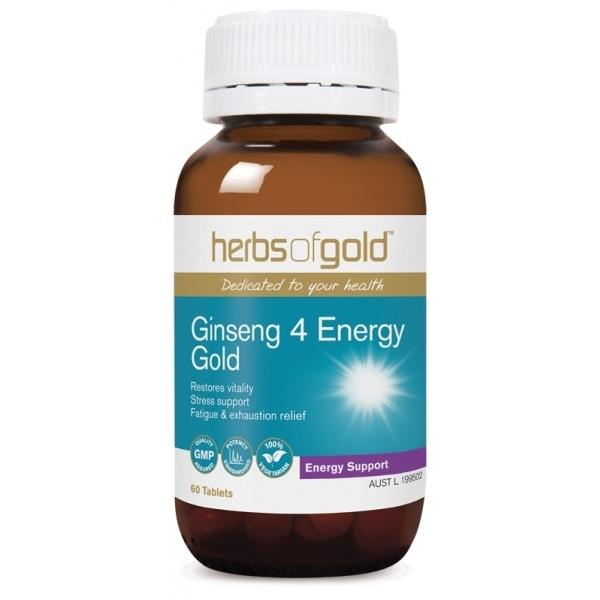 Herbs of Gold Ginseng 4 Energy Gold 60 Tablets