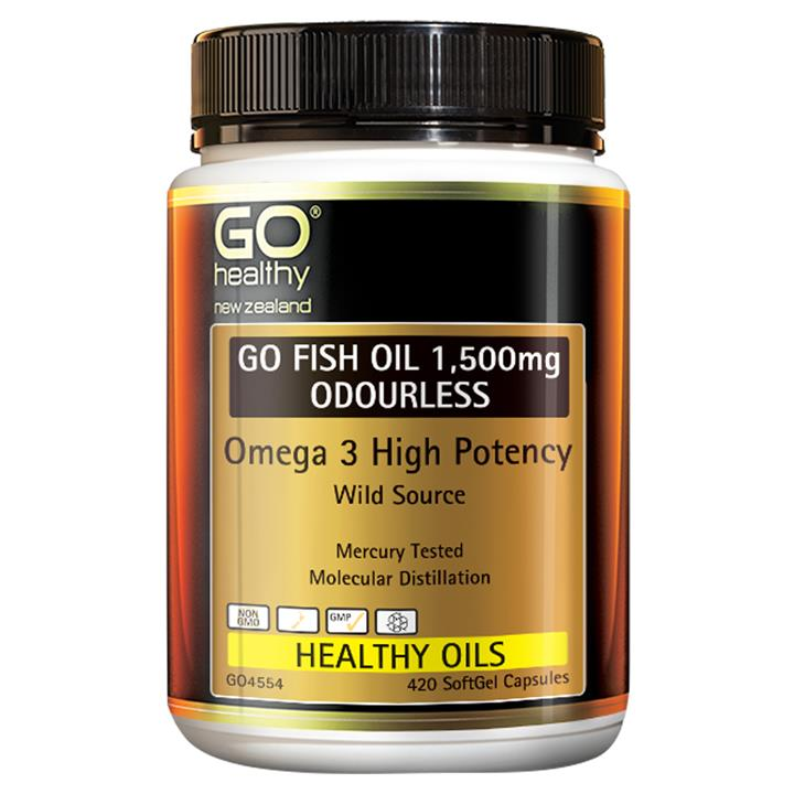 GO Healthy Go Fish Oil 1,500mg Odourless 90 softgels