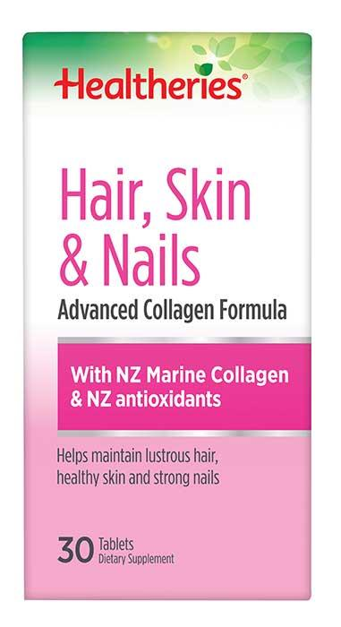 Healtheries Hair, Skin & Nails with NZ Marine Collagen 30 tablets