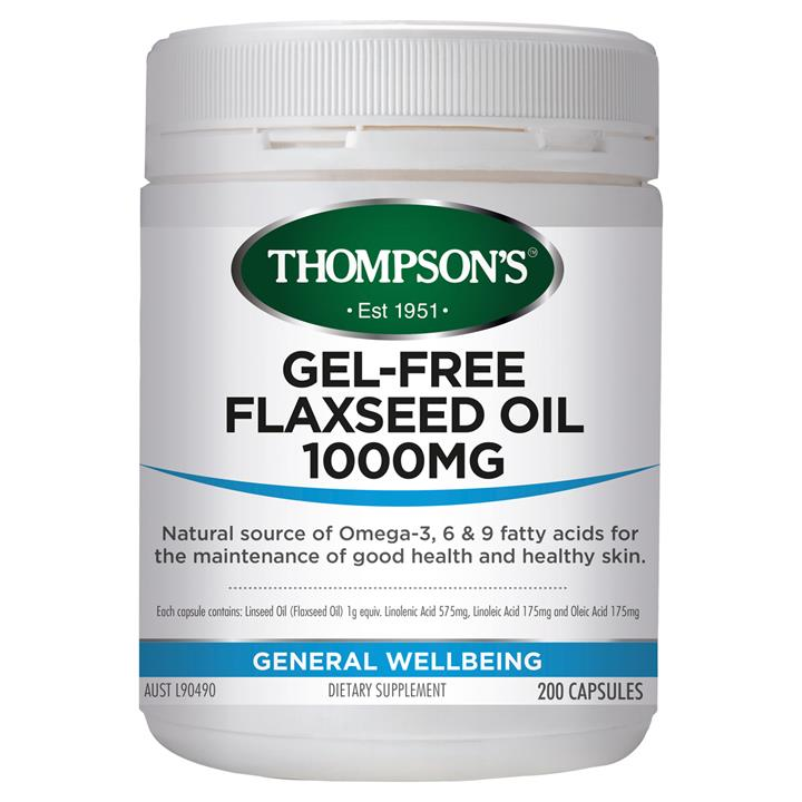 Thompson's Gel-Free Flax Seed Oil 1000 200 vegecaps