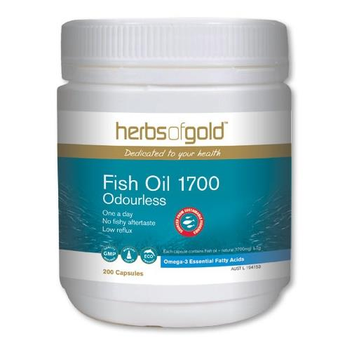 Herbs Of Gold Fish Oil 1700 Odourless 200 Capsules