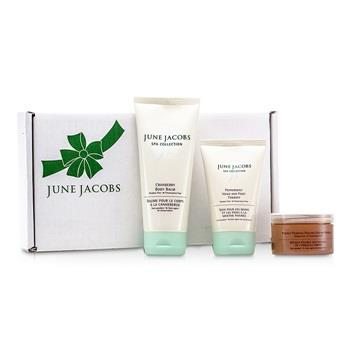 June Jacobs At Home Spa Kit: Peeling Masque + Hand & Foot Therapy + Body Balm 3pcs Skincare