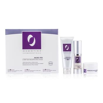 Osmotics Micro Peel Skin Resurfacing System: Exfoliating Charcoal Mask 50ml/1.7oz + Collagen Boosting Micro Peel 15ml/0.5oz + Protective Barrier Cream 15ml/0.5oz 3pcs Skincare