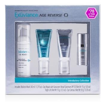 Exuviance Age Reverse Introductory Collection: BioActiv Wash + Day Repair + Night Lift + Eye Contour 4pcs Skincare