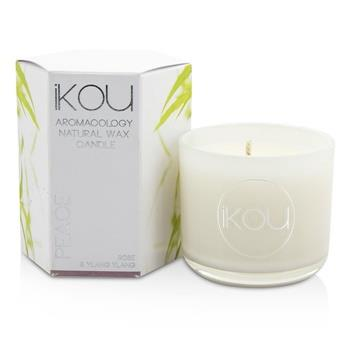iKOU Eco-Luxury Aromacology Natural Wax Candle Glass - Peace (Rose & Ylang Ylang) (2x2) inch Home Scent