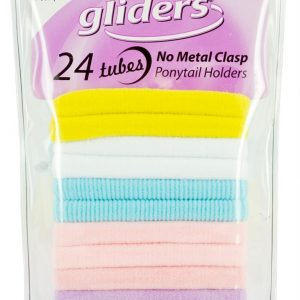 Gliders Tubes Ponytail Holders Small Pastel 24 piece