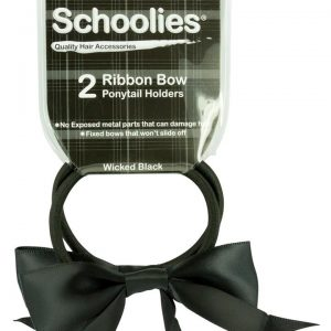 Schoolies Ribbon Bow Ponytail Holders Wicked Black 2 piece