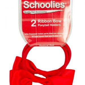 Schoolies Ribbon Bow Ponytail Holder Radical Red 2 piece