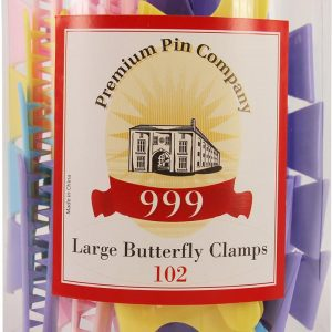 999 Premium Pin Co. Butterfly Clamps Large Assorted Colour 36 Pack