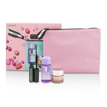 Clinique Travel Set: All About Eye 15ml + Mascara 3.5ml + Eye Makeup Remover 30ml+1Bag 3pcs+1bag Skincare