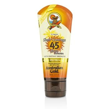 Australian Gold Sheer Coverage Faces Sunscreen SPF 45 With Instant Bronzer 88ml/3oz Skincare