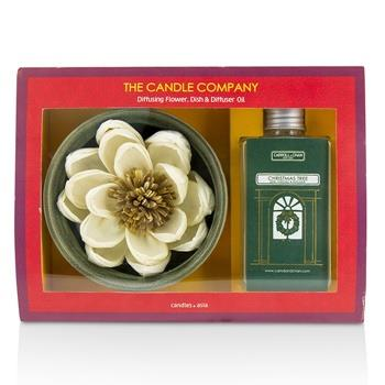 The Candle Company Christmas Tree Diffuser Flower Coffret: Diffusing Flower + Dish + Diffuser Oil 100ml 3pcs Home Scent