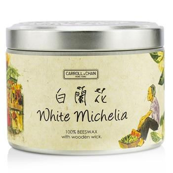 The Candle Company Tin Can 100% Beeswax Candle with Wooden Wick – White Michelia (8×5) cm Home Scent