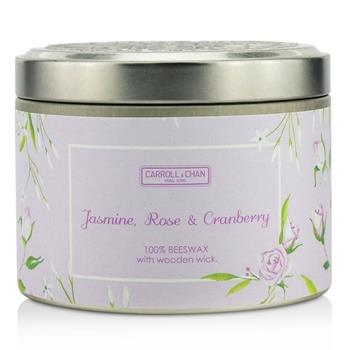 The Candle Company Tin Can 100% Beeswax Candle with Wooden Wick – Jasmine, Rose & Cranberry (8×5) cm Home Scent