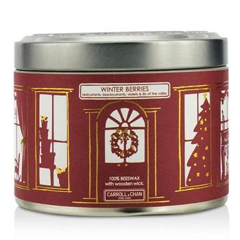 The Candle Company Tin Can 100% Beeswax Candle with Wooden Wick – Winter Berries (Redcurrants, Blackcurrants, Violets & Lily Of The Valley) (8×5) cm Home Scent