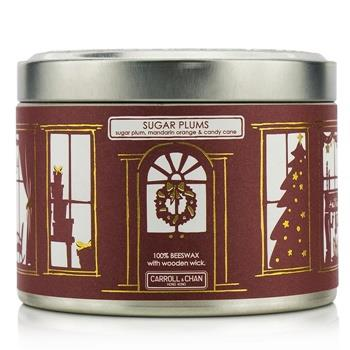 The Candle Company Tin Can 100% Beeswax Candle with Wooden Wick – Sugar Plums (Sugar Plum, Mandarin Orange & Candy Cane) (8×5) cm Home Scent