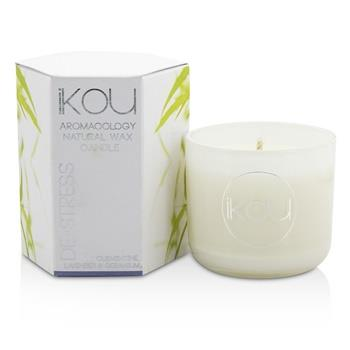 iKOU Eco-Luxury Aromacology Natural Wax Candle Glass - De-Stress (Lavender & Geranium) (2x2) inch Home Scent