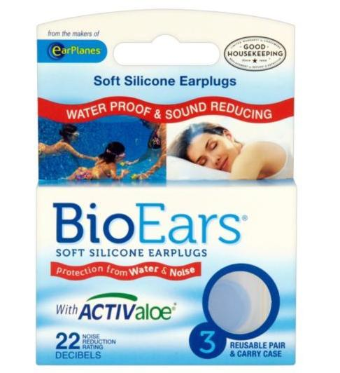 Bioears Soft Silicone Earplugs 3 Reusable Pairs & Carry Case