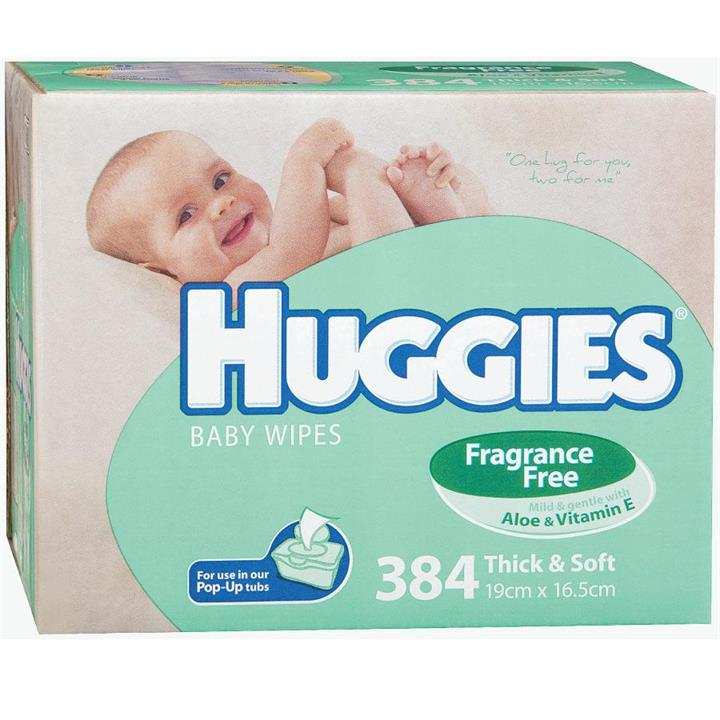 Huggies Baby Wipes Refill Fragrance Free X 384