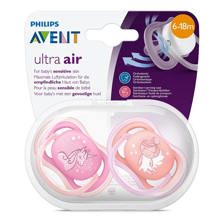 Avent Ultra Air Fashion Soother 6-18 Months X 2 (Assorted Designs/Colours)