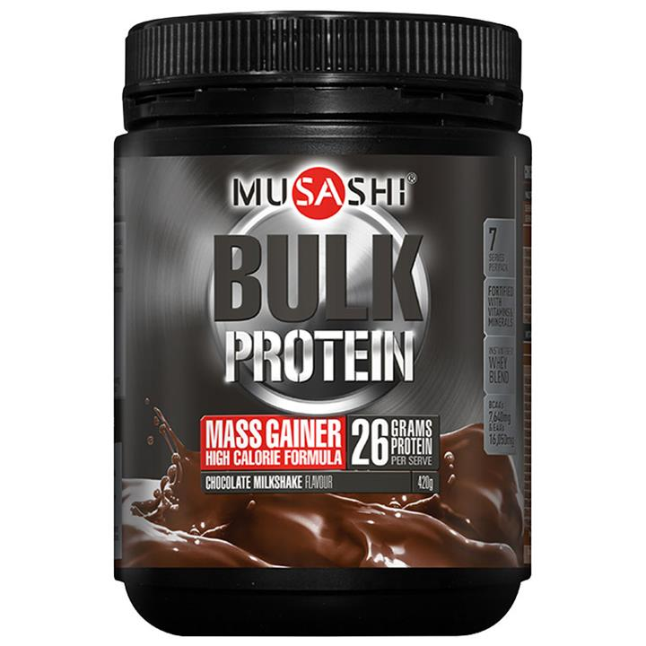 Musashi Bulk Mass Gain Protein Powder Chocolate Milkshake 420g