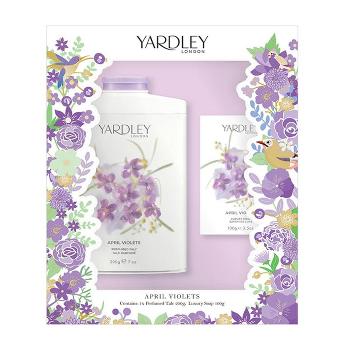 Yardley April Violets Gift Set Talc 200g + Soap 100g