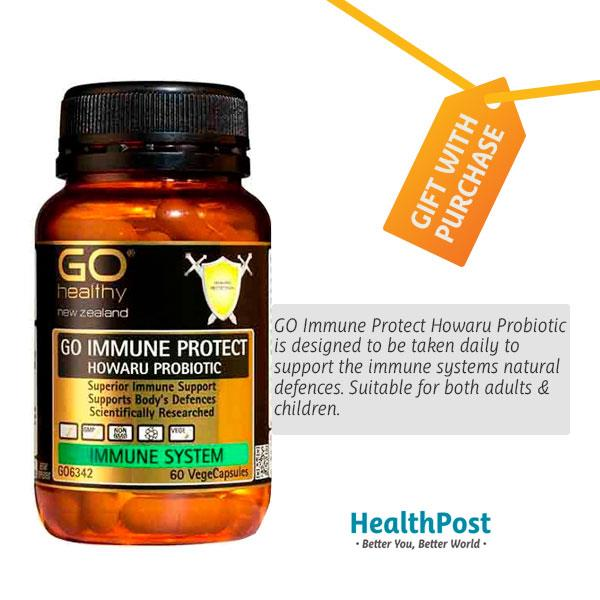 GO Healthy Go Immune Protect- Howaru Probiotic – Freebie 60 vegecaps