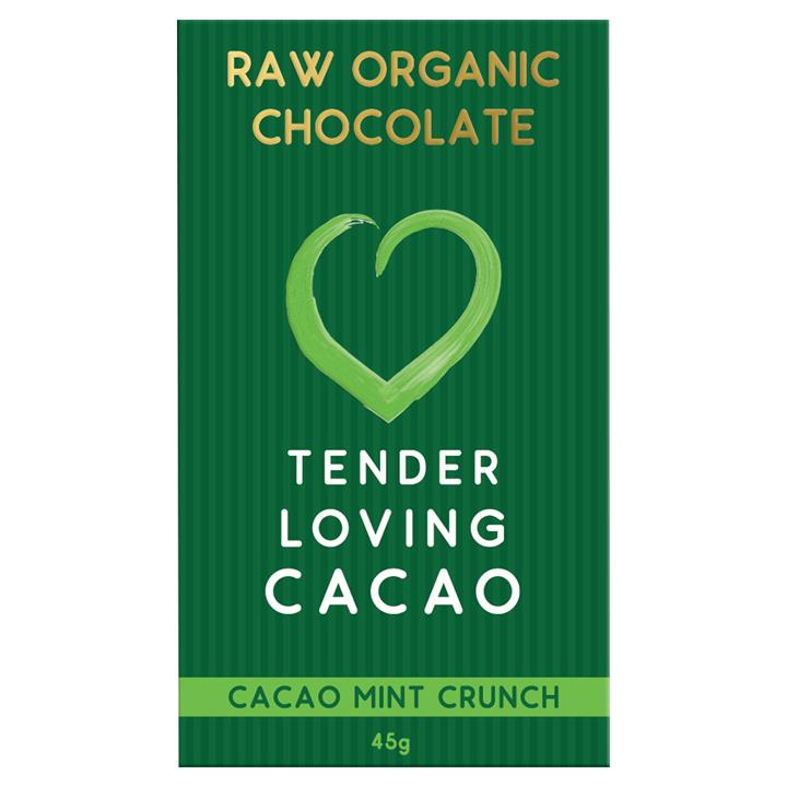 Tender Loving Cacao Raw Organic Chocolate – Mint Cacao Crunch 45gm
