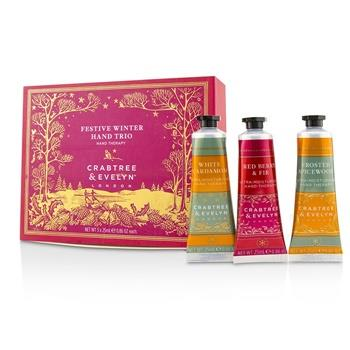 Crabtree & Evelyn Festive Winter Hand Trio (1x Frosted Spicewood, 1x White Cardamom, 1x Red Berry & Fir) 3x25ml/0.86oz Skincare