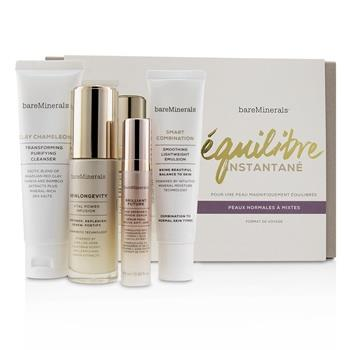 BareMinerals Balance To-Go Started Kit (Normal to Combination Skin): Clay Chameleon+Skinlongevity+Brilliant Future+Smart Combination 4pcs Skincare