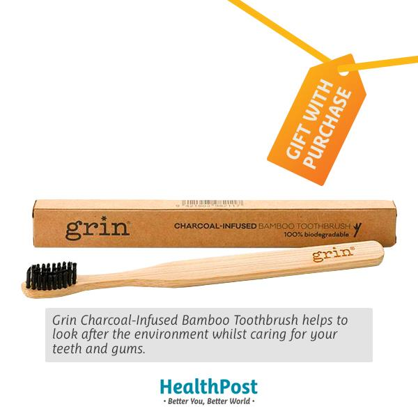 Grin Charcoal-Infused Bamboo Toothbrush - Freebie 1 piece