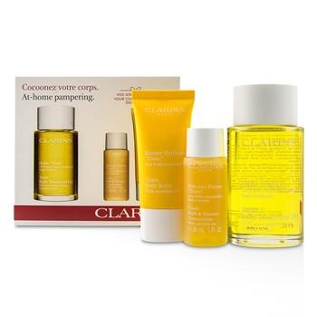 Clarins At-Home Pampering Body Kit: 1x Tonic Body Treatment Oil, 1x Bath & Shower Concentrate, 1x Tonic Body Balm 3pcs Skincare
