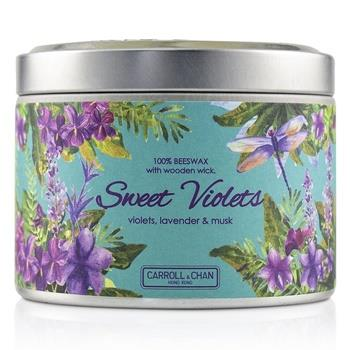 The Candle Company Tin Can 100% Beeswax Candle with Wooden Wick – Sweet Violets (8×5) cm Home Scent