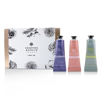 Crabtree & Evelyn Floral Hand Therapy Trio (1x Pear & Pink Magnolia, 1x Rosewater & Pink Peppercorn, 1x Lavender & Espresso) 3x25ml/0.86oz Skincare
