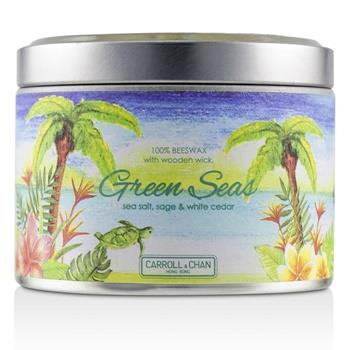 The Candle Company Tin Can 100% Beeswax Candle with Wooden Wick – Green Seas (sea salt, sage & white cedar)  Home Scent