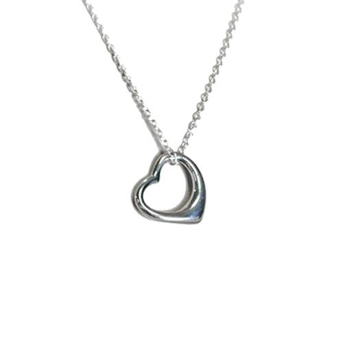 Heart Necklace 18 Inch Chain with Clasp Rhodium Plated