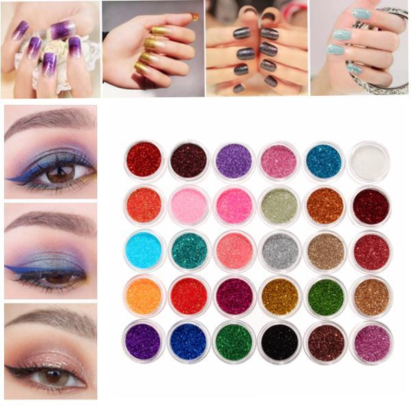 30 Mixed Colors Powder Pigment Glitter Spangle Eyeshadow Nail Art Makeup Cosmetic Set