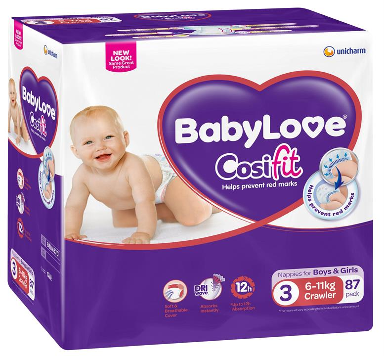 BabyLove Cosifit Nappies Crawler (6-11kg) X 87 (Limit 2 boxes per order)