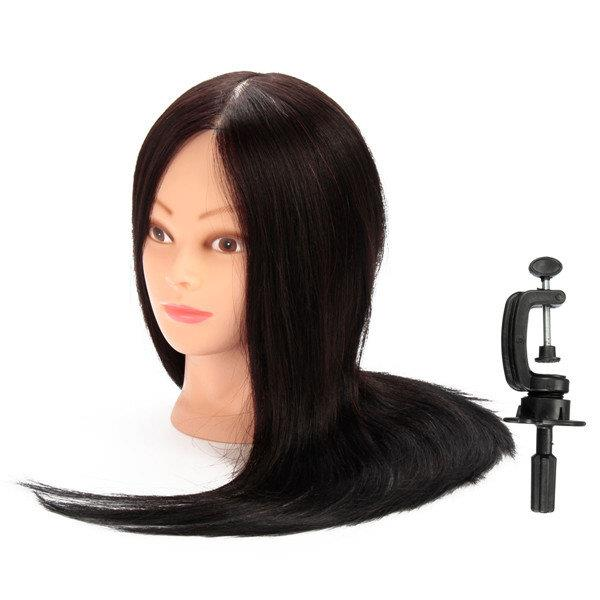 100% Black Real Human Hair Practice Mannequin Training Head Hairdressing Cutting With Clamp