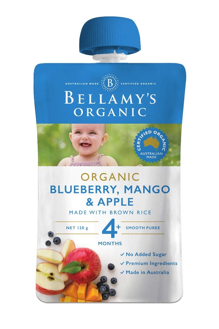 Bellamy's Organic Mango Blueberry & Apple 120g