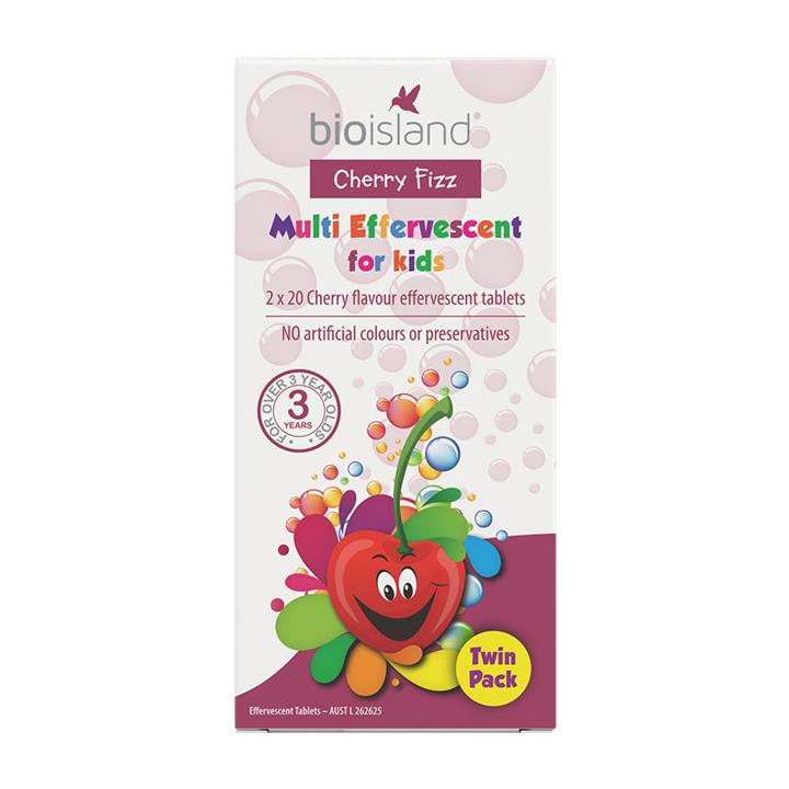 Bio Island Cherry Fizz Multi Effervescent for Kids (Twin Pack)