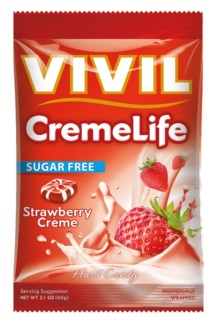 Vivil Creme Classic Sugar Free Candy (Strawberries & Creme) 60g