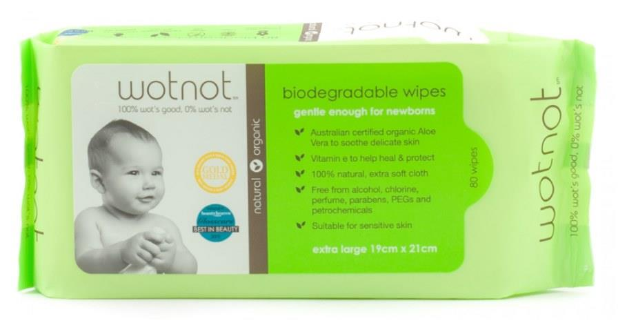 wotnot Biodegradable Baby Wipes X 80