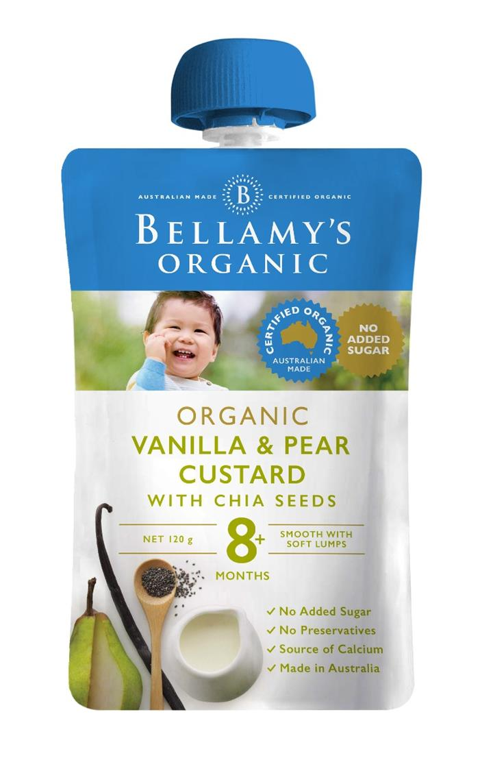 Bellamy's Organic Vanilla & Pear Custard with Chia Seeds 120g