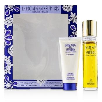 Elizabeth Taylor Diamonds & Sapphires Coffret: Eau De Toilette Spray 100ml/3.3oz + Perfumed Body Lotion 100ml/3.3oz 2pcs Ladies Fragrance