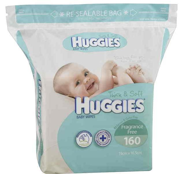 Huggies Baby Wipes Refill Fragrance Free X 160