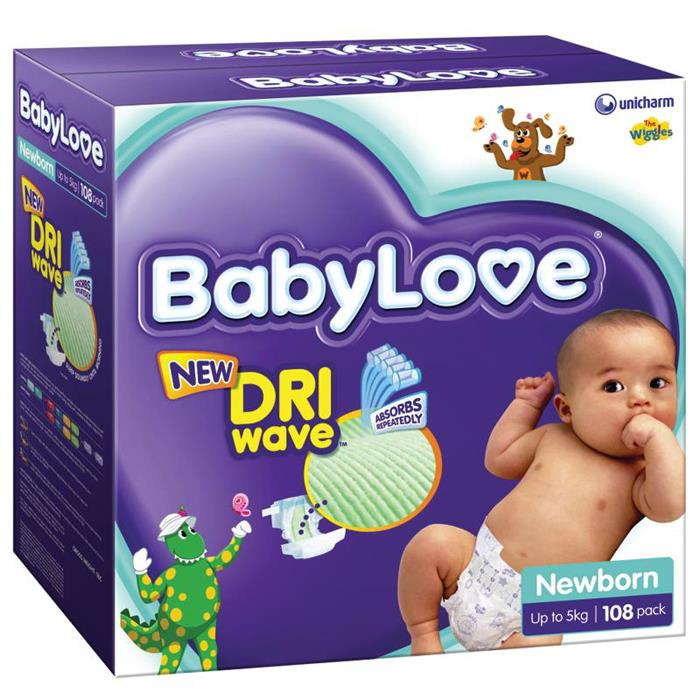 BabyLove Nappies Newborn (Up To 5kg) X 108 (Limit 2 boxes per order)