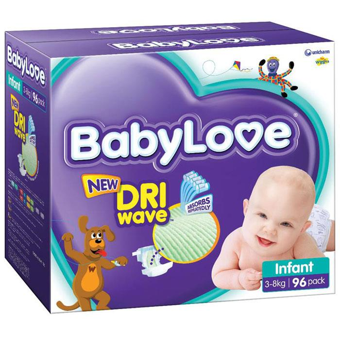 BabyLove Nappies Infant (3-8kg) X 96 (Limit 2 boxes per order)