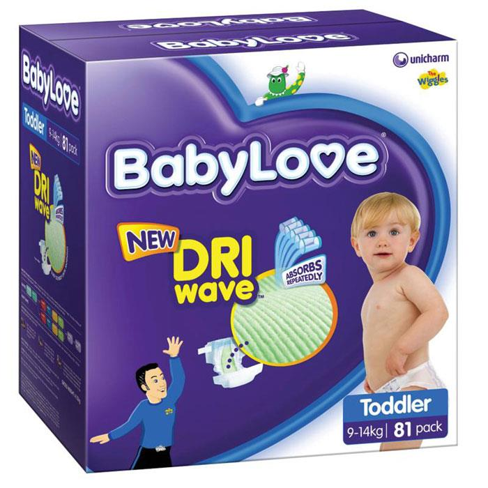 BabyLove Nappies Toddler (9-14kg) X 81 (Limit 2 boxes per order)